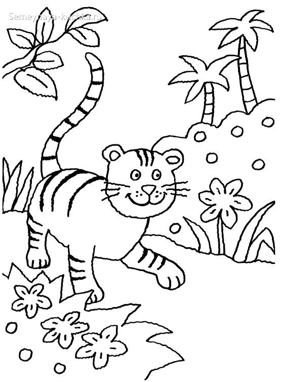 тигр раскраска для малышей