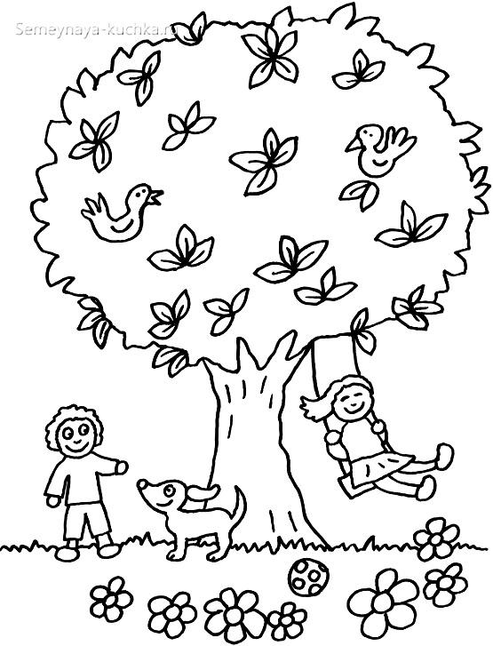 дети на качелях раскраска для малышей