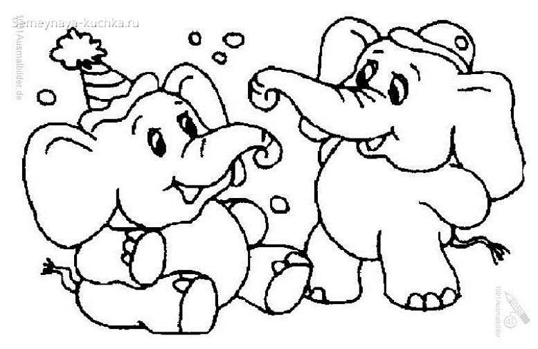 слонята играют раскраска для малышей