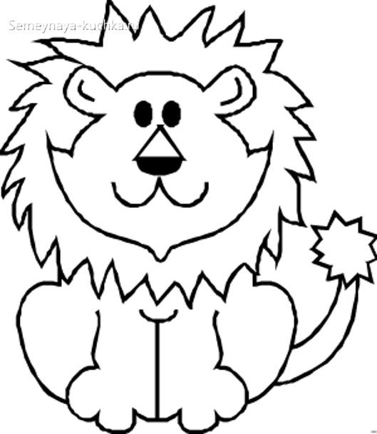 лев раскраска для маленьких детей
