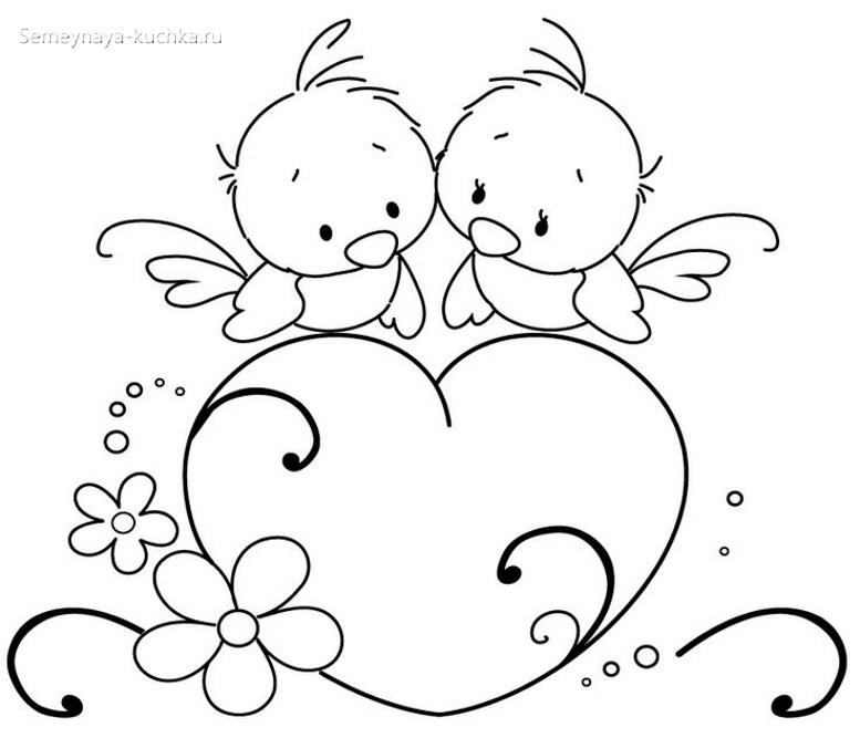 птички раскраска для малышей