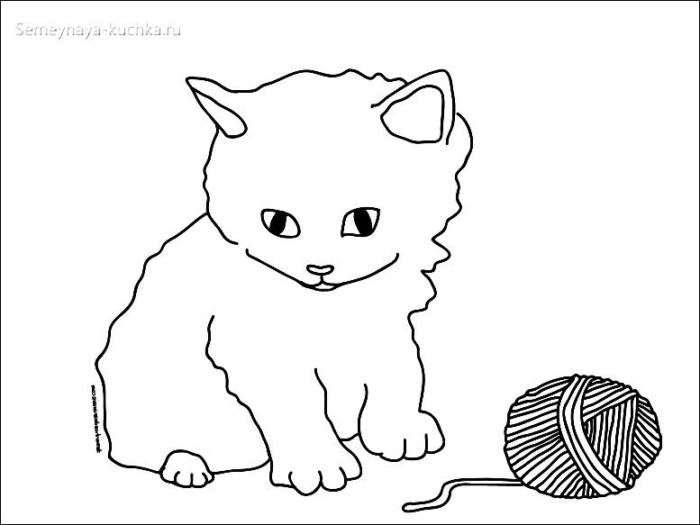 котенок и клубок раскраски для самых маленьких