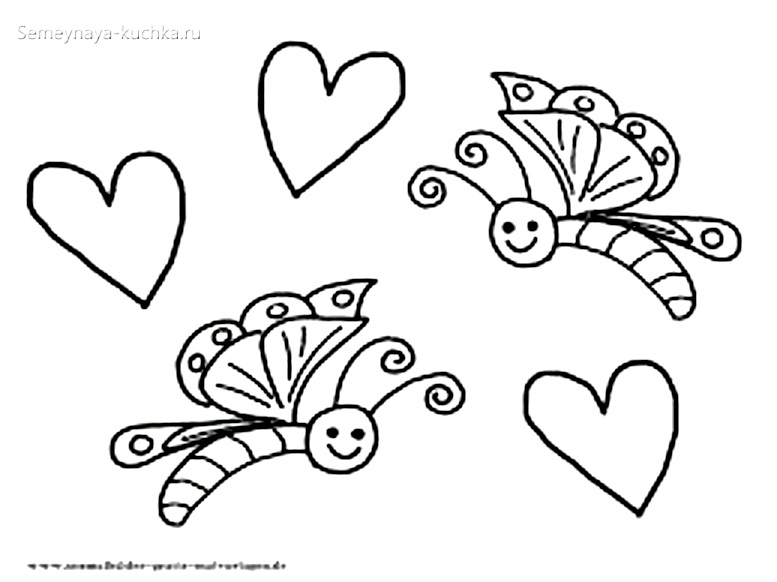 бабочки в небе раскраски для самых маленьких