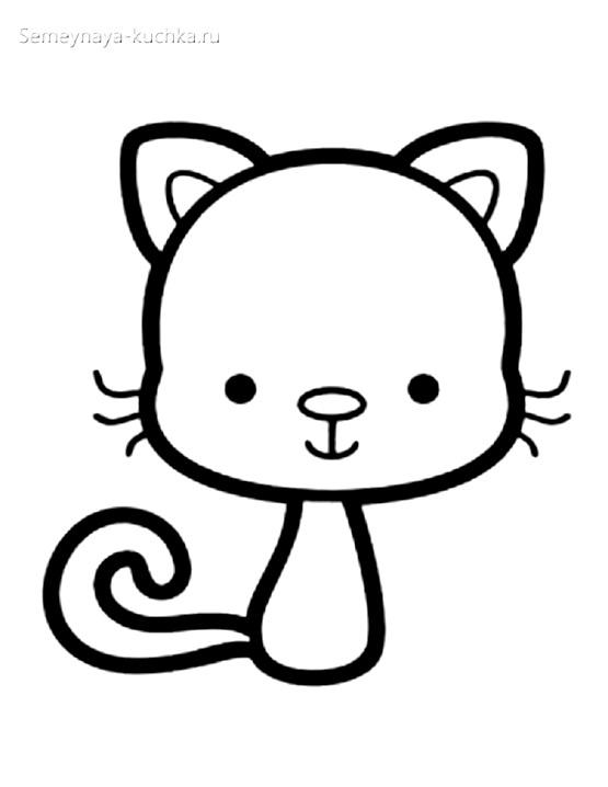 котенок раскраски для самых маленьких детей