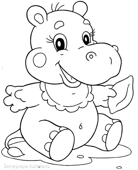 бегемот раскраска для маленьких детей