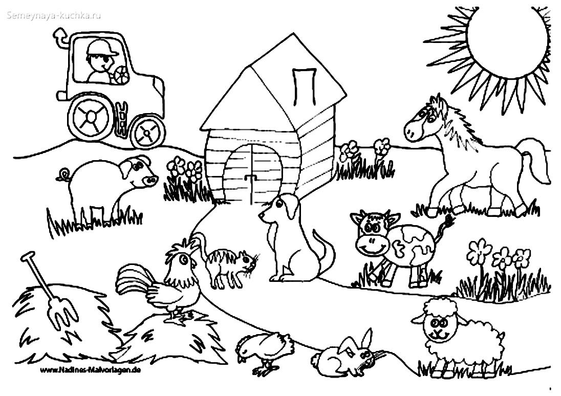 ферма раскраски для самых маленьких детей