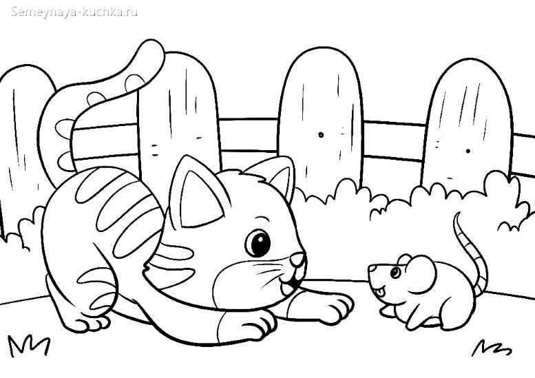кот и мышка раскраска для маленьких детей
