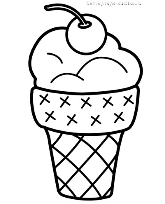 мороженое раскраска для маленьких детей