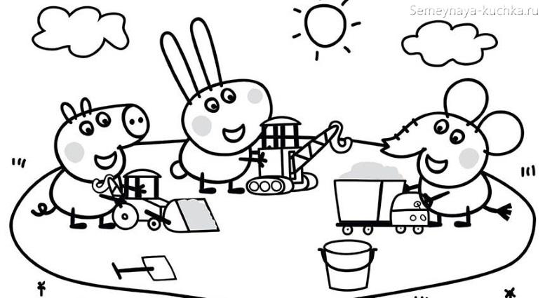 свинка Пеппа раскраска для маленьких детей