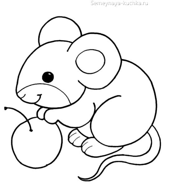 мышка раскраска для маленьких детей