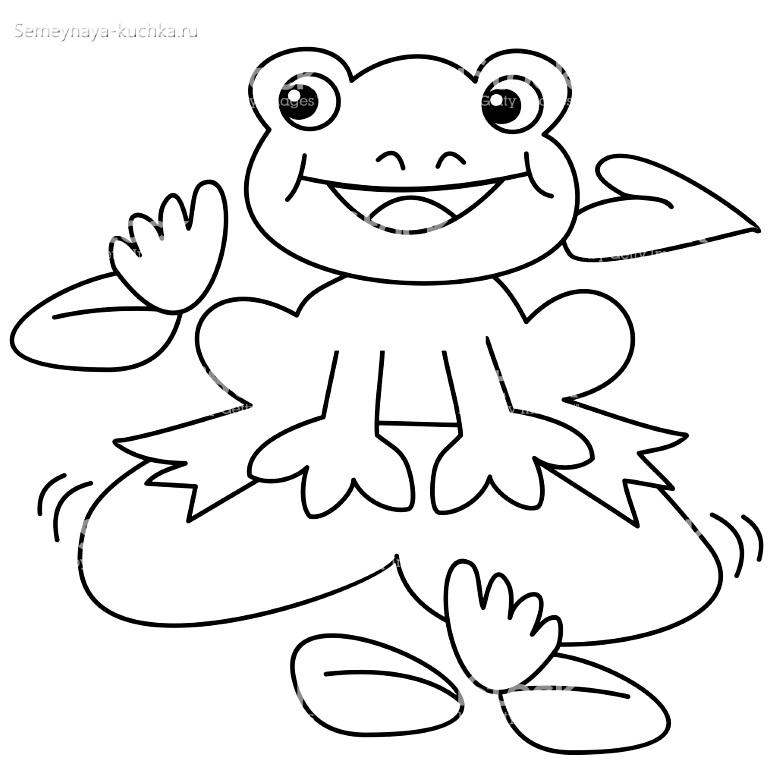 лягушка в болоте раскраска для малышей