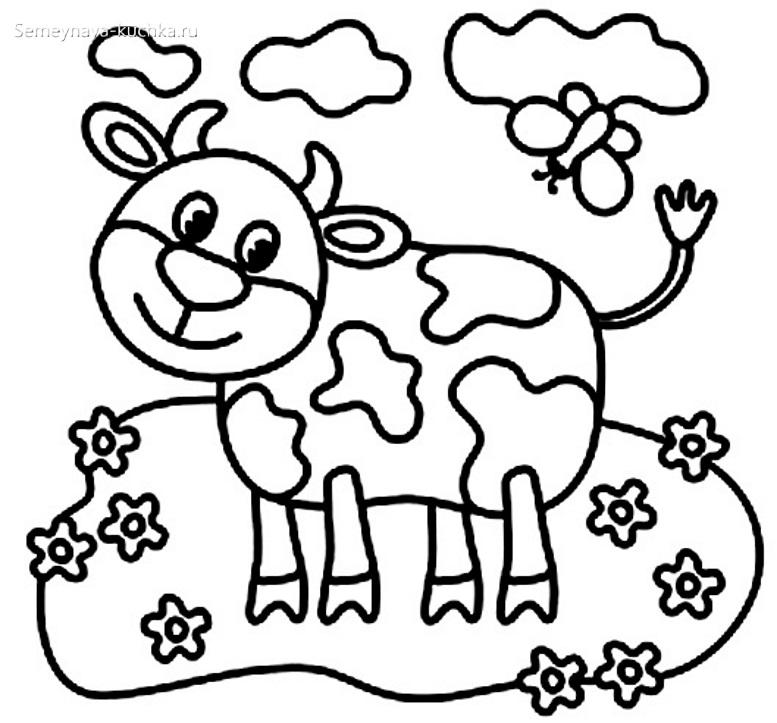 корова на лугу раскраска для малышей