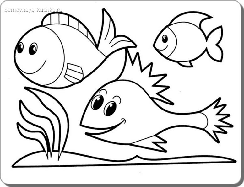 рыбки в аквариуме раскраска для малышей