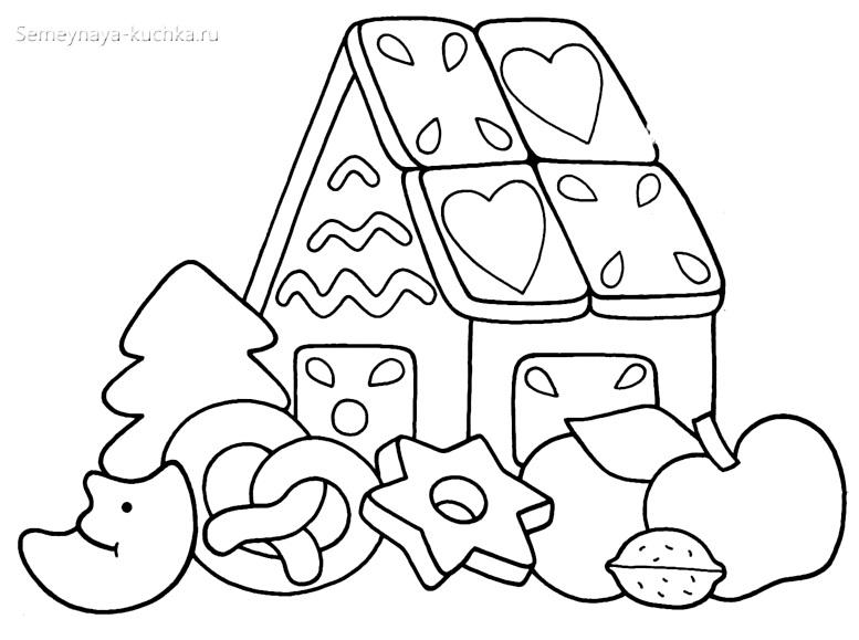 сладости новогодние раскраска для малышей