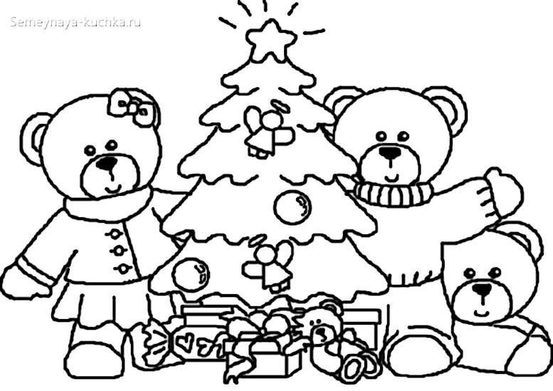 новый год раскраска для малышей
