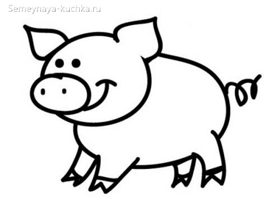 свинка раскраска для маленьких детей