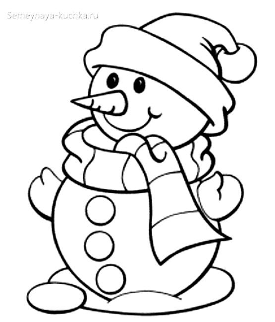 снеговик раскраска для малышей