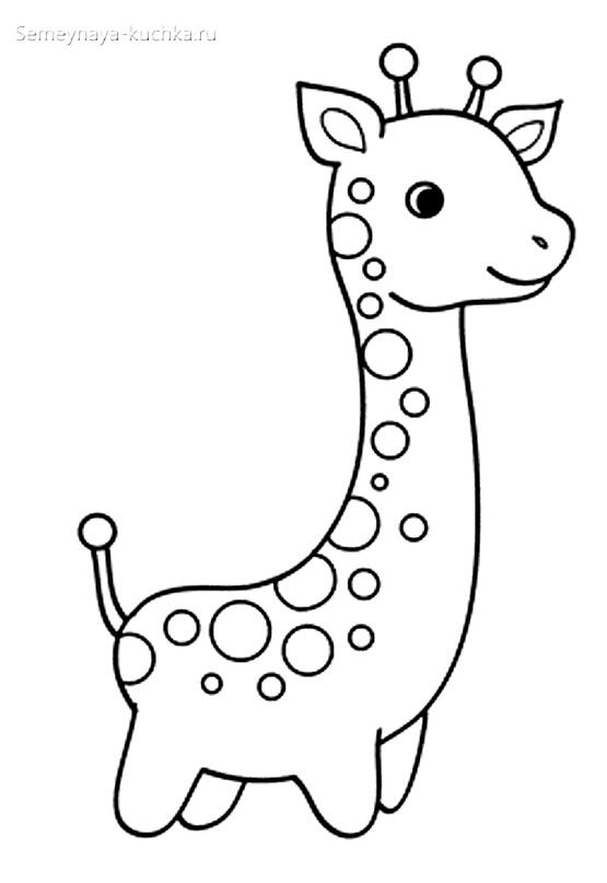 жираф раскраска для малышей