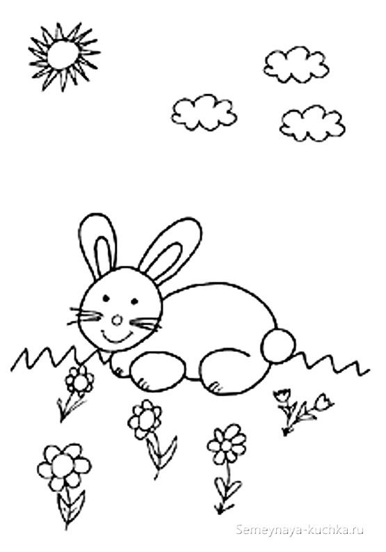 кролик пасхальный раскраска для малышей