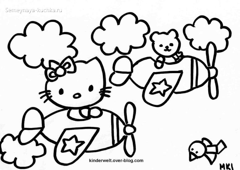 котик китти раскраска для малышей