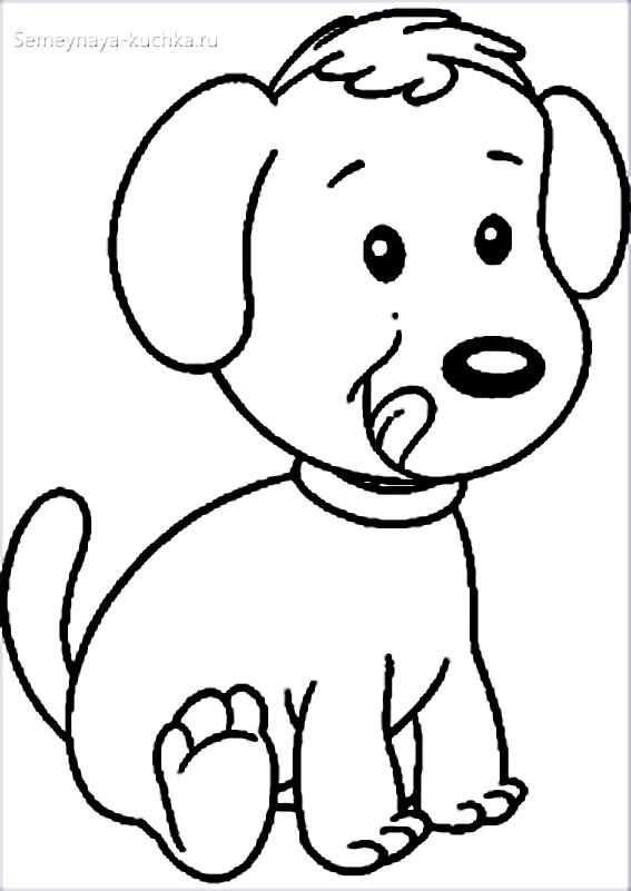 щенок раскраска для малышей
