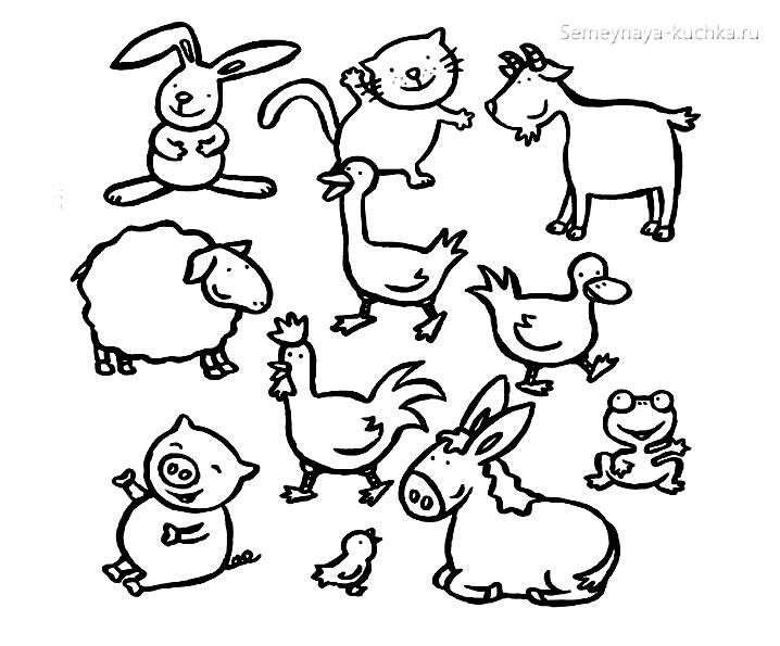 ферма животные раскраски для самых маленьких детей