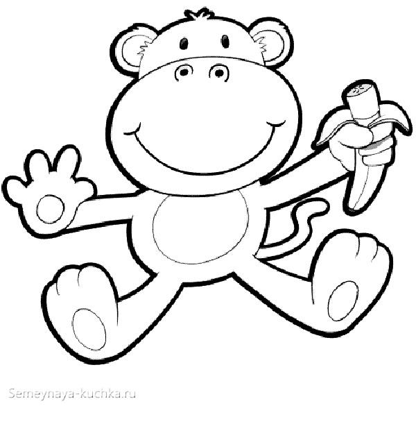 обезьяна с бананом раскраски для самых маленьких детей