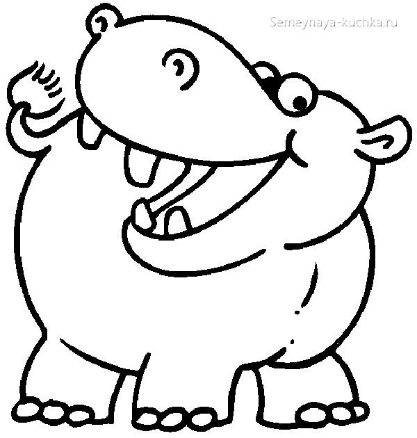 бегемот смеется раскраски для самых маленьких детей