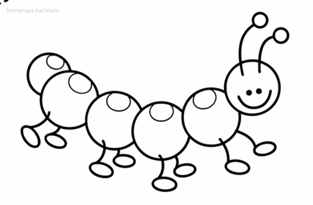 гусеница раскраски для самых маленьких детей