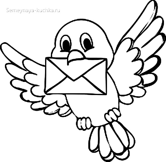 птица держит письмо раскраски для самых маленьких детей