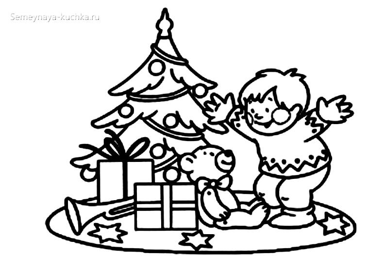 подарки под елкой раскраски для самых маленьких детей