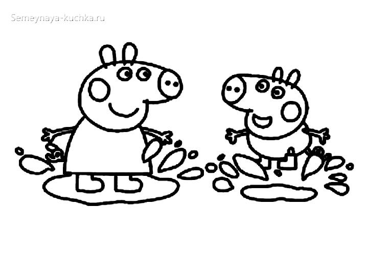 свинка пеппа и джорж прыгают в лужах раскраски для самых маленьких детей