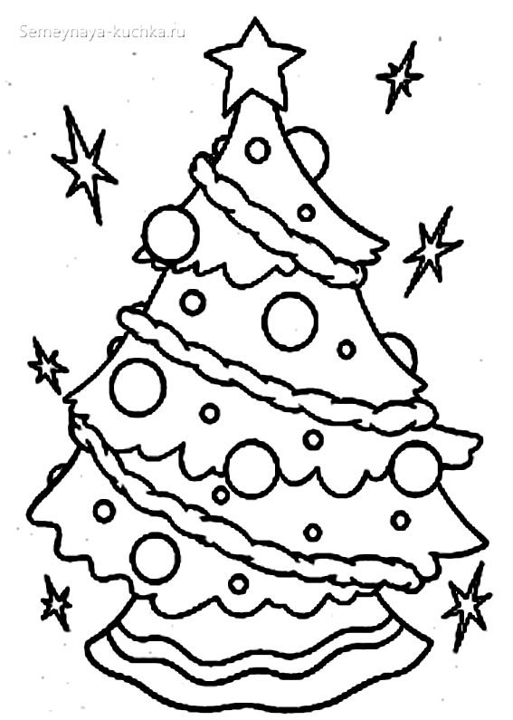 новогодняя елка раскраски для самых маленьких детей