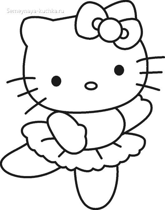 кошка китти балерина раскраски для самых маленьких детей