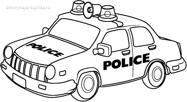 раскраска картинка полицейская машина