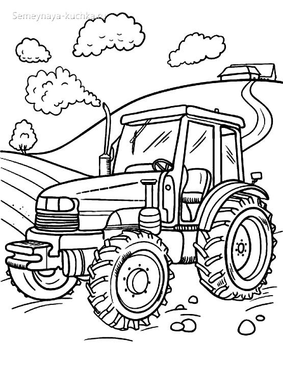 раскраска картинка чб трактор