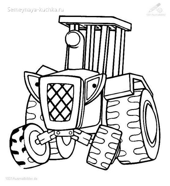раскраска картинка трактор для мальчиков