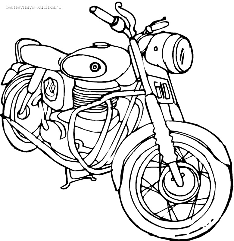раскраски для мальчиков мотоцикл чб
