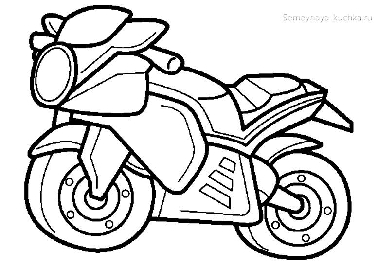 раскраска мотоцикл чб