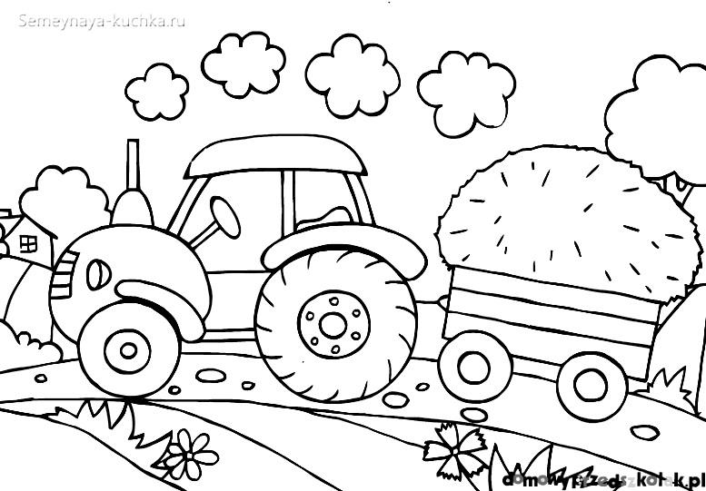 раскраски для мальчиков трактор в поле