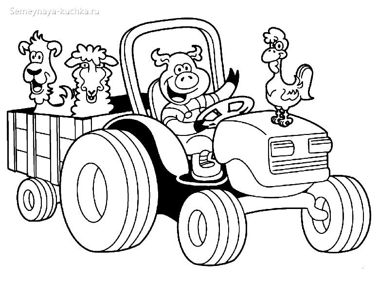 раскраски для мальчиков ферма трактор