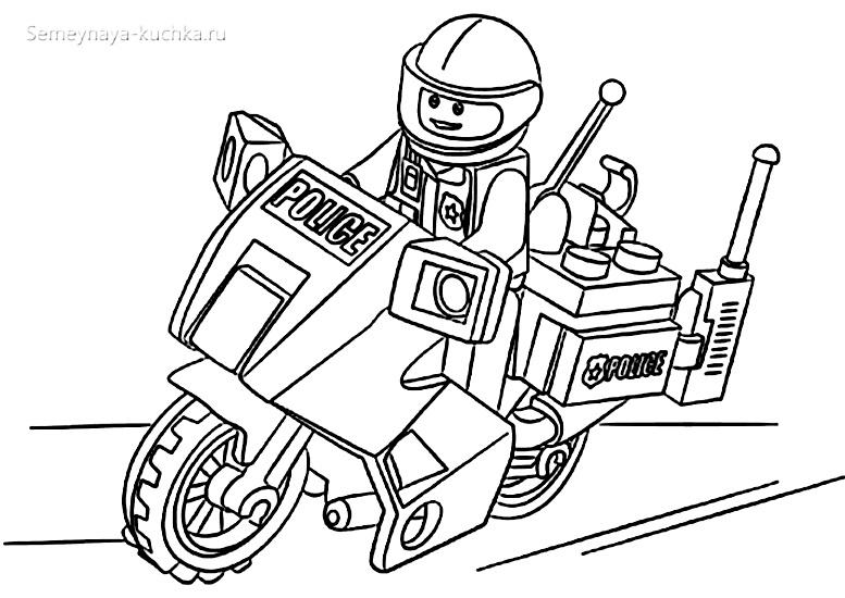 раскраска картинка мотоцикл лего чб