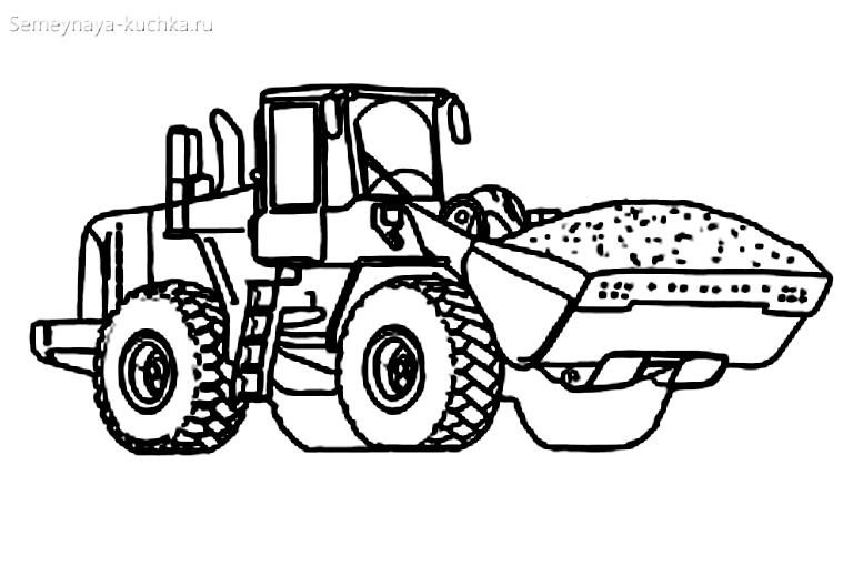 раскраски для мальчиков трактор погрузчик