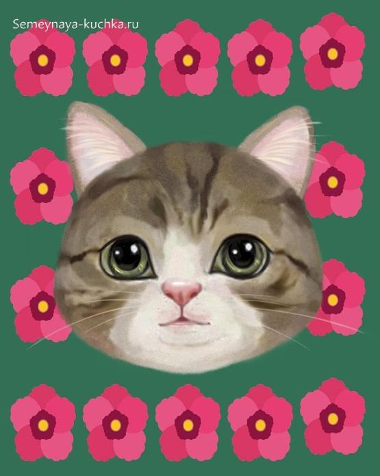 аппликация котик из журналов