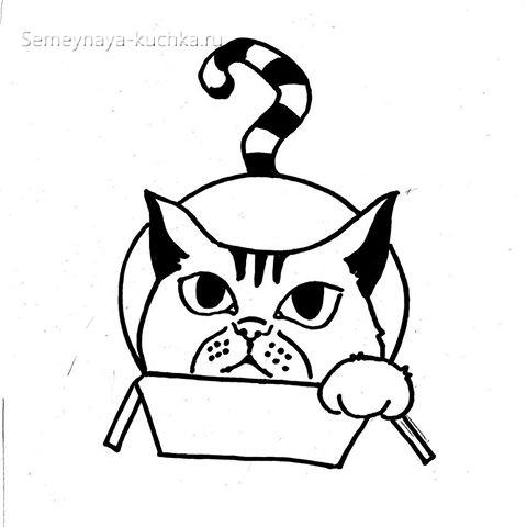 шаблон кот для занятий по аппликации
