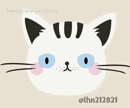 шаблон котик для аппликации с детьми