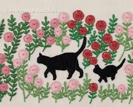 шаблон кошка и котенок аппликация в детском саду