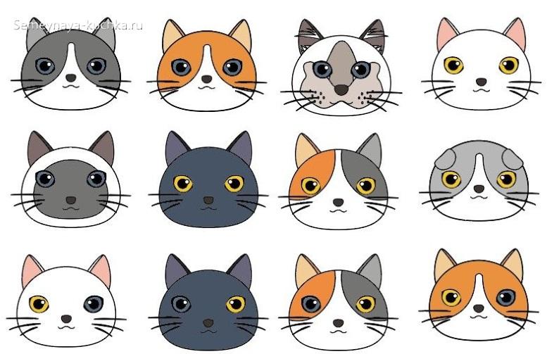 шаблон морда кошки для аппликации в детском саду