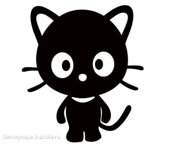шаблон черный котенок для аппликации с детьми