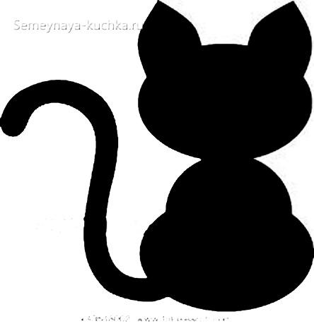 шаблон кошка с длинным хвостом для детей